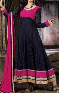 Anarkali Frocks Suit 2016 2017 Designs Fashion in India Pakistan Black Pink