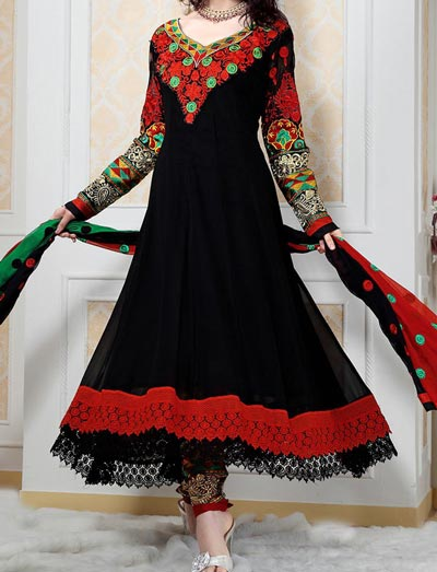 Anarkali Frocks Suit 2016 2017 Designs Fashion in India Pakistan Black