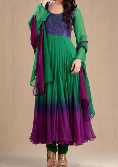 Anarkali Frocks Suit 2016 2017 Designs Fashion in India Pakistan Green