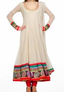 Anarkali Frocks Suit 2016 2017 Designs Fashion in India Pakistan Off White