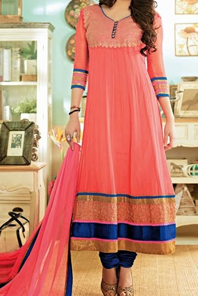 Anarkali Frocks Suit 2016 2017 Designs Fashion in India Pakistan Pink Blue