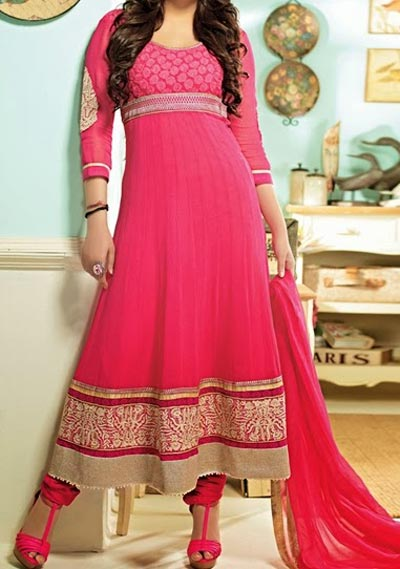 Anarkali Frocks Suit 2016 2017 Designs Fashion in India Pakistan Pink