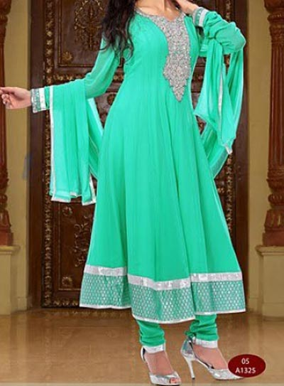 Green-Anarkali Frocks Suit 2016 2017 Designs Fashion in India Pakistan