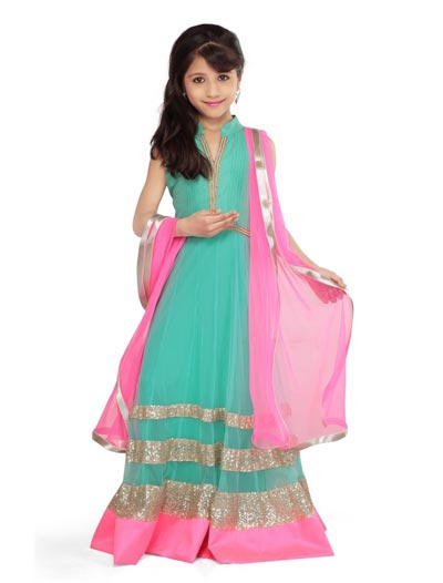 Little-Girls-Baby-Girls-Party-Wedding-Dress-Suit-Pakistani-Indian-2016-2017-Green