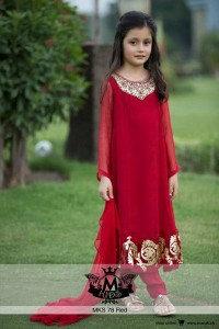Maria-B-Little-Girls-Baby-Girls-Party-Wedding-Dress-Suit-Pakistani-Indian-2016-2017-Red
