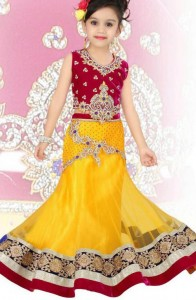beautiful-yellow-Latest Sharara and Gharara Designs For Kids 2016 2017 Ghagra Choli