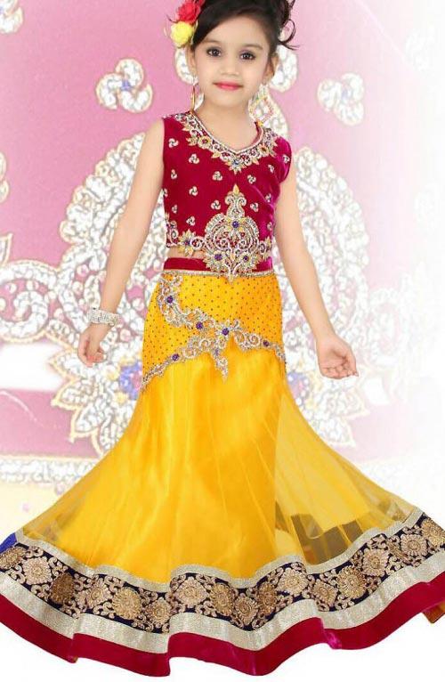 beautiful-yellow-Latest Sharara and Gharara Designs For Kids 2016 2017 Ghagra Choli