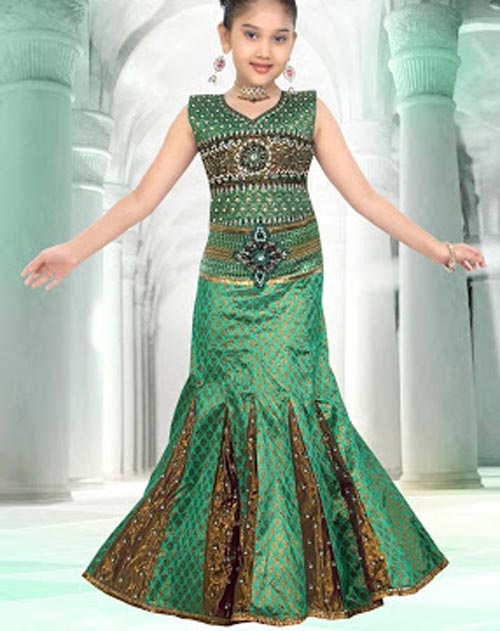 green-color Latest Sharara and Gharara Designs For Kids 2016 2017 Ghagra Choli