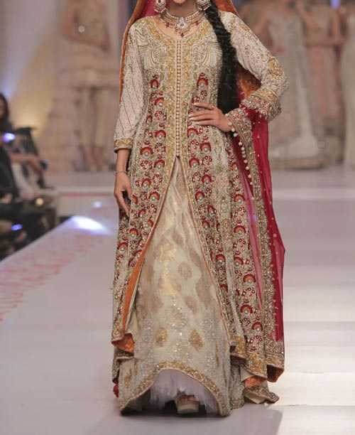 Bridal Wedding Dresses Lehenga 2016 Fashion in Pakistan and India Open Frock Gown