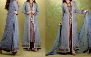 Fashion Front Open Double Shirt Style Frock Gown Shirt Designs 2016 2017
