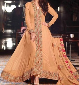 Fashion Front Open Double Shirt Style Frock Gown Shirt Designs 2016 2017 India