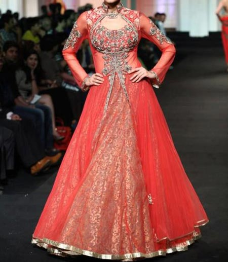 Fashion Front Open Double Shirt Style Frock Gown Shirt Designs 2016 2017 Red Bridal