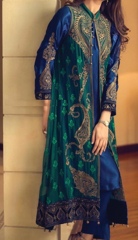 Fashion Front Open Double Shirt Style Frock Tail Gown Shirt Designs 2016 2017