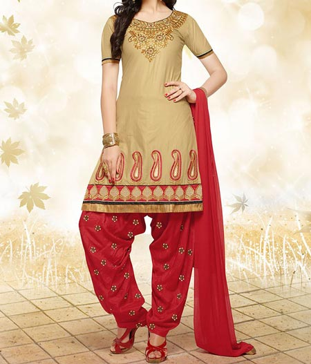 Fancy Red New Fashion Punjabi Salwar Kameez Patiala Suits Designs 2016 2017 India