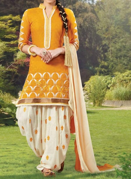 New Fashion Punjabi Salwar Kameez Patiala Suits Neck Designs 2016 2017 India Yellow