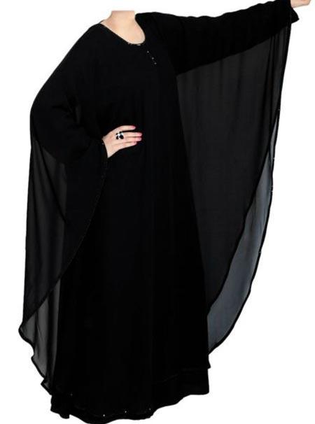 Black Casual Simple Abaya Designs 2016 2017 Burqa Burka Saudi Arabia UAE Dubai Butterfly-Style