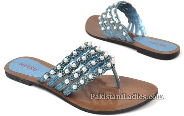 Metro Shoes Flat Chappals Slippers Designs 2016 2017 Prices Embellished-Strap-Flats-1795