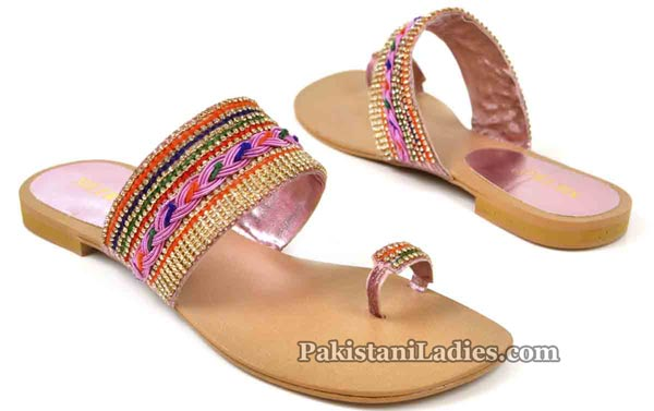 Metro Shoes Flat Chappals Slippers Designs 2016 2017 Prices Multi-color-Kola-Puri-2495