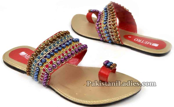 Metro Shoes Flat Chappals Slippers Designs 2016 2017 Prices Multi-color-Kola-Puri-PKR-795