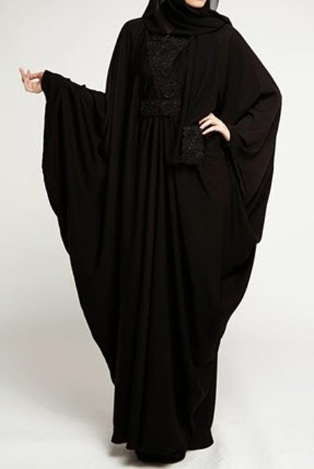Middle-East- Black Simple Abaya Designs 2016 2017 Burqa Burka in Pakistan India Saudi Arabia