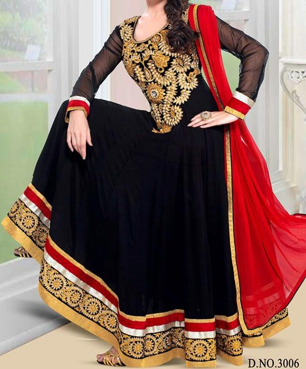 Latest Gowns Floor Length Anarkali Frocks Suits Indian Actress Dress 2017 2018 Black