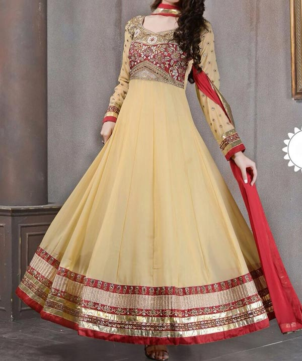 cream Latest Gowns Floor Length Anarkali Frocks Suits Indian Actress Dress 2017 2018