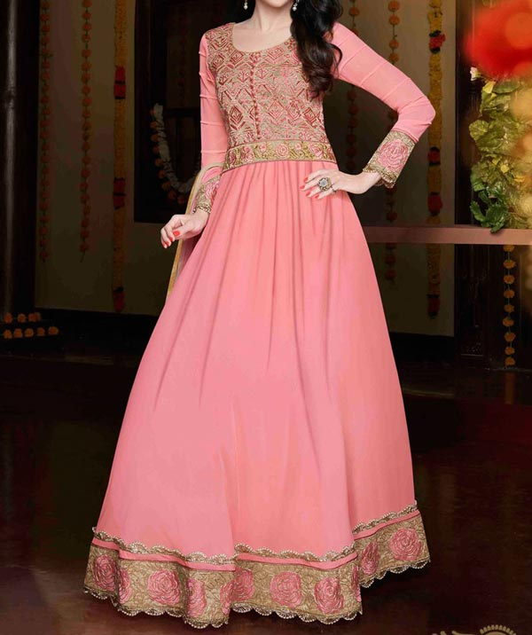karishma-kapoor-pink-Latest Gowns Floor Length Anarkali Frocks Suits Indian Actress Dress 2017 2018