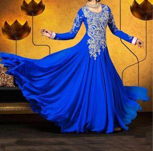 wedding-blue-designer-Latest Gowns Floor Length Anarkali Frocks Suits Indian Actress Dress 2017 2018