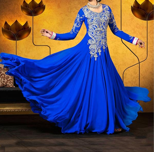 wedding-blue-designer-Latest Gowns Floor Length Anarkali Frocks Suits Indian Actress Dress 2017 2018