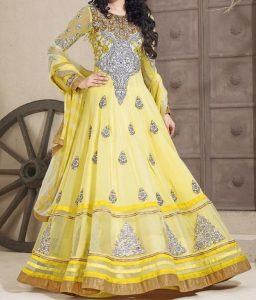 yellow Latest Gowns Floor Length Anarkali Frocks Suits Indian Actress Dress 2017 2018