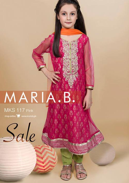 pakistani-indian-new-fashion-kids-girls-frock-dresses-suit-2017-2018-red-maria-b