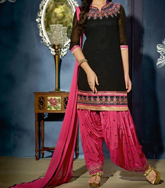 punjabi-salwar-kameez-suit-2017-2018-party-wear-neck-designs-black-pink