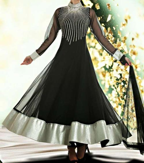 umbrella-frock-design-anarkali-churidar-suits-salwar-kameez-2017-2018-black