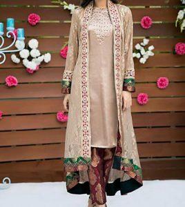 latest-fashion-front-open-double-net-shirt-style-dresses-2017-2018