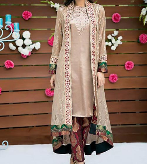 latest-fashion-front-open-double-net-shirt-style-dresses-2017-2018