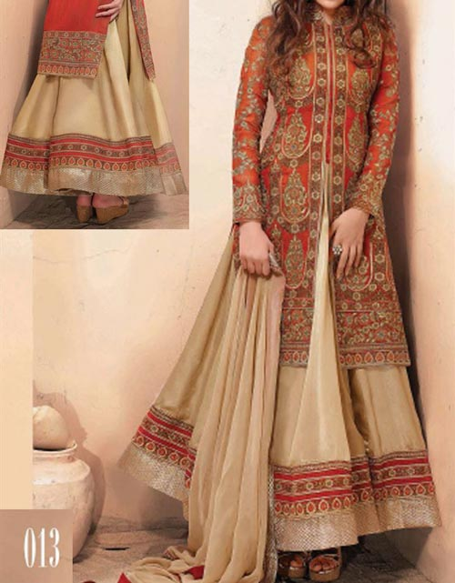 Latest Fashion Front Open Lehenga Style Dresses 2017 2018 - Stylish Wedding Dresses