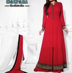latest-fashion-front-open-style-net-frock-dresses-2017-2018-red