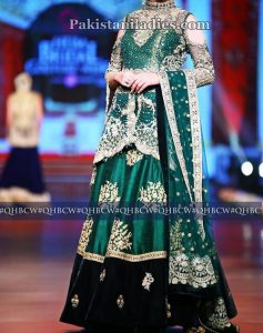 net-bridal-lehenga-fashion-2017-wedding-party-dresses-with-cut-work-green