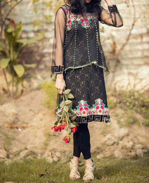 Net Dresses Designs 2017 2018, Net Frocks Gown, Shalwar Kameez Black