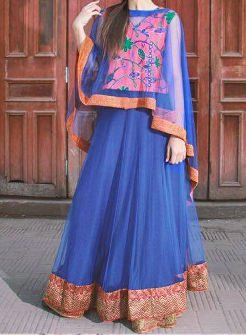 Net Dresses Designs 2017 2018, Net Frocks Gown, Shalwar Kameez Blue