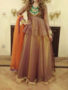 Net Dresses Designs 2017 2018, Net Frocks Gown, Shalwar Kameez Brown 1