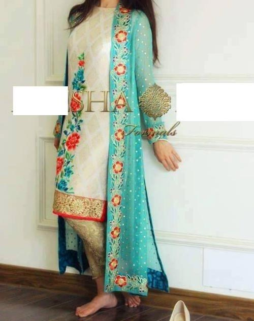 Net Dresses Designs 2017 2018, Net Frocks Gown, Shalwar Kameez Green
