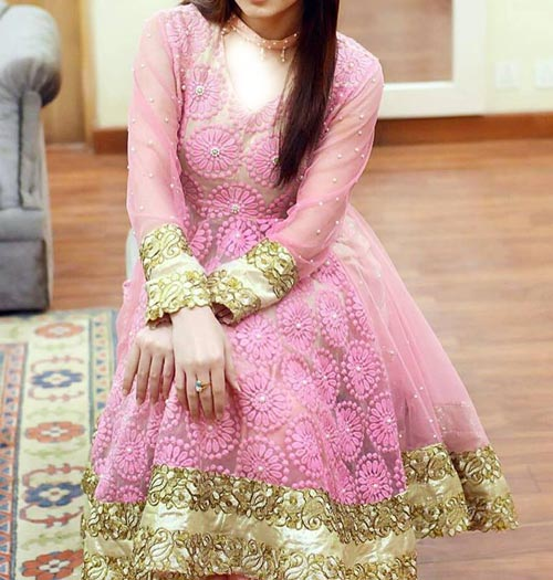 Net Dresses Designs 2017 2018, Net Frocks Gown, Shalwar Kameez Pink