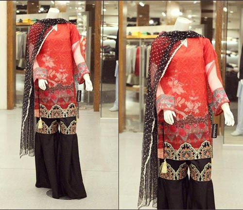 Net Dresses Designs 2017 2018, Net Frocks Gown, Shalwar Kameez Red Black