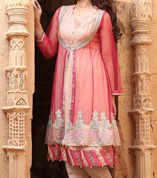 Net Dresses Designs 2017 2018, Net Frocks Gown, Shalwar Kameez Red Off White