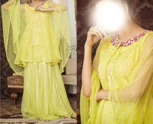 Net Dresses Designs 2017 2018, Net Frocks Gown, Shalwar Kameez Yellow
