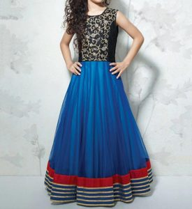 Latest Party Wedding Long frocks designs Collection 2017 2018 kids Teenagers Blue Black