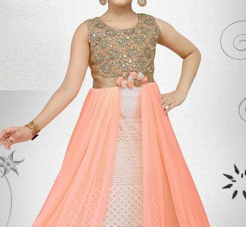 Latest Party Wedding Long frocks designs Collection 2017 2018 kids Teenagers Orange