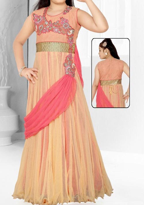 Latest Party Wedding Long frocks designs Collection 2017 2018 kids Teenagers Peach