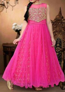 Latest Party Wedding Long frocks designs Collection 2017 2018 kids Teenagers Pink